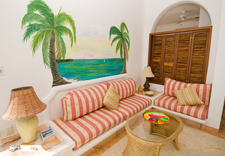 Living room of Playa Caribe #8, Akumal vacation rental condo on Half Moon Bay