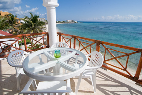Patio of Playa Caribe #8, Akumal vacation rental condo on Half Moon Bay