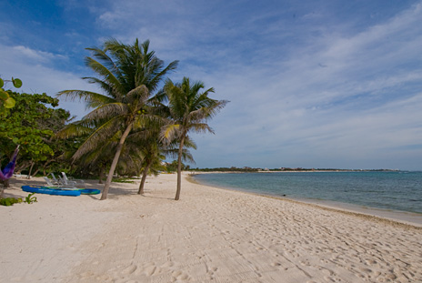 Pretty as a postcard is the beach in front of Playa del Caribe vacation villa on South Akumal Bay
