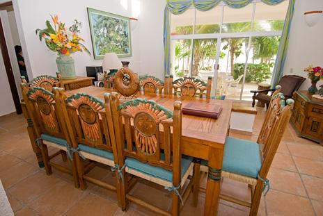 Dining room at  Playa del Caribe vacation villa on South Akumal Bay