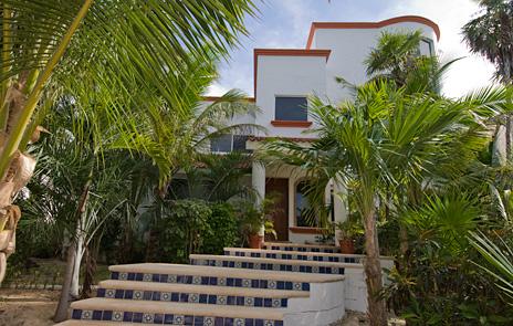 Stairs leading to  Playa del Caribe vacation rental villa on South Akumal Bay