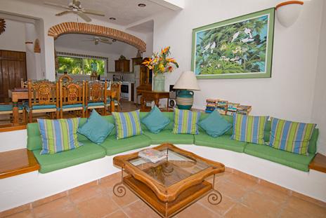 Comfy living room at  Playa del Caribe vacation rental home  on South Akumal Bay