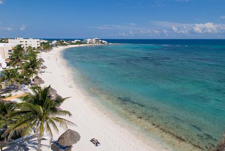 Beach view from Playa Caribe Akumal Vacation Rental Condos on Half Moon Bay