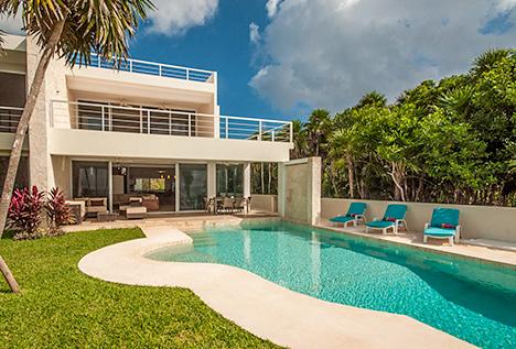 pool view at Villa Pelagia vacation rental villa on tankah bay, riviera maya