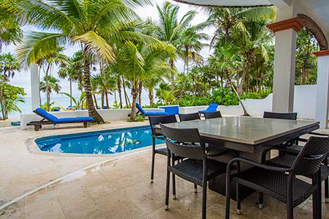 Oceanfront patio at  Playa del Caribe vacation rental property on South Akumal Bay