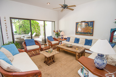Lliving room at Los Primos South Akumal vacation rental villa