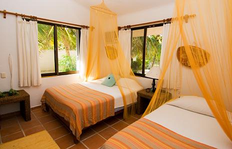 Bedroom #4 at Casa Rosa vacation rental property south of Akumal on Tankah Bay