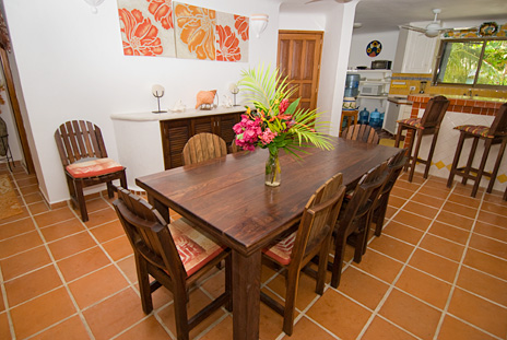Dining area in Casa Rosa beachfront vacation rental home on Tankah Bay, Riviera Maya
