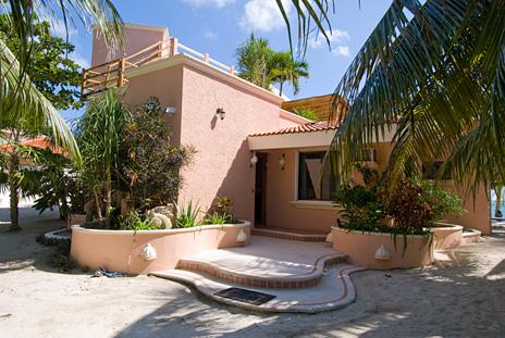 Front of Casa Rosa vacation rental villa on Tankah Bay