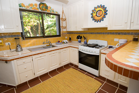 Large kitchen at Casa Rosa beachfront vacation villa, Tankah