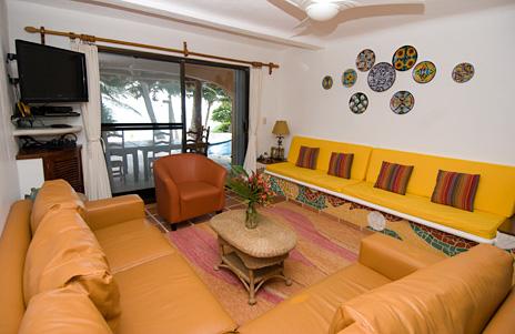Living room of Casa Rosa vacation rental villa on Tankah Bay south of Akumal Mexico