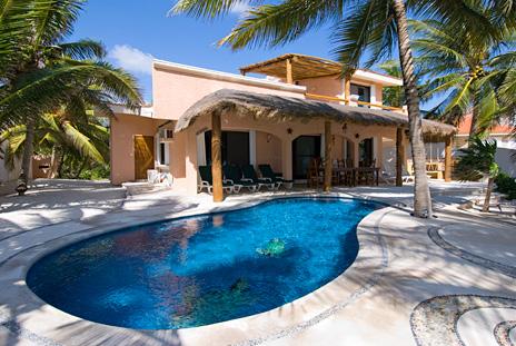 Exterior view Casa Rosa Tankah Mexico