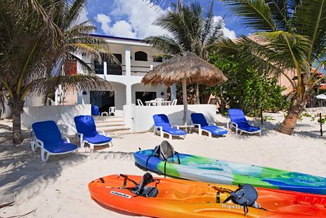 Beach side view of Casa Salvaje Akumal Aventuras vacation rental villa