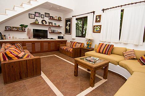 Living area in Casa Salvaje Akumal Aventuras vacation rental villa
