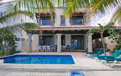Back view of Casa San Francisco vacation rental villa in South Akumal