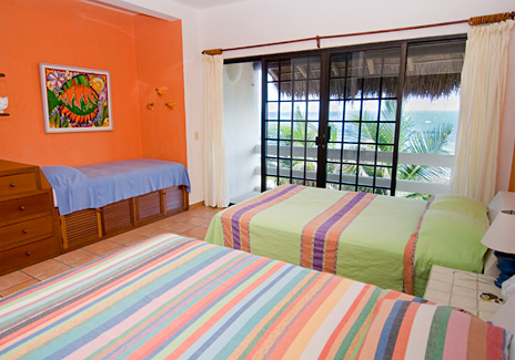 Bedroom #4 at Sea Gate  4 BR Akumal vacation rental villa on the Riviera Maya