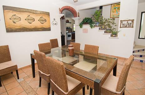 Dining room at Sea Gate  4 BR Akumal vacation rental villa on the Riviera Maya