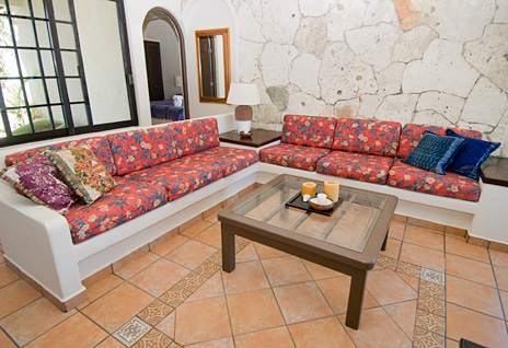 Living room at Sea Gate  4 BR Akumal vacation rental villa on the Riviera Maya