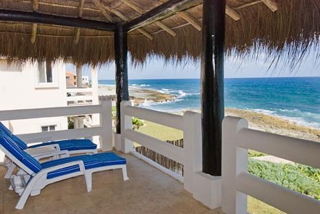 Second level patio at Sea Gate  4 BR Akumal vacation rental villa on the Riviera Maya