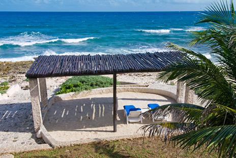 Seaside pergola  at Sea Gate  4 BR Akumal vacation rental villa on the Riviera Maya