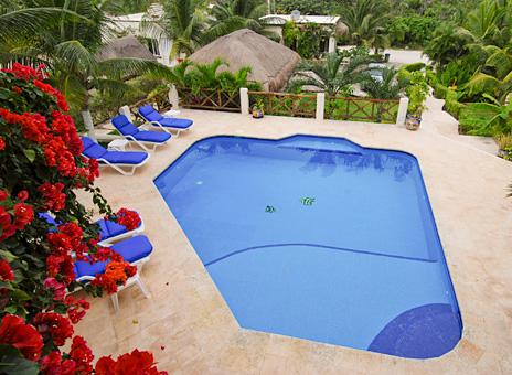View of Casa Sea Gate swimming pool, Akumal vacation rental villa on the Riviera Maya