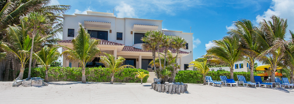 front view of Casa Soleada vacation rental villa on Tankah Bay