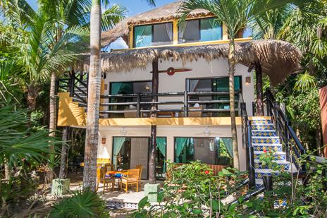 Exterior of Villa Palmeras Soliman vacation rental villa on Soliman Bay