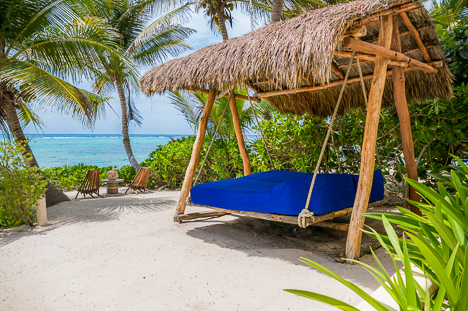 Casa Sunrise 2 BR Akumal vacation rental villa has an oceanfront bed that swings