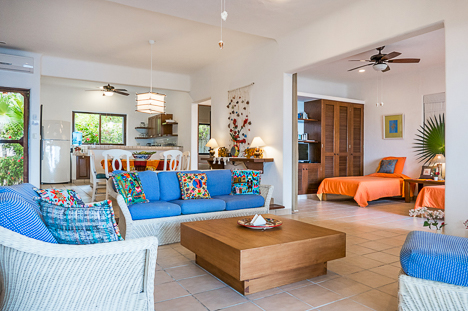 Living area of Akumal Sunrise 2 BR vacation rental villa in South Akumal