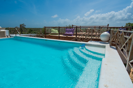 Casa Sunrise rooftop swimming pool is a feature of this 2 BR Akumal vacation rental villa