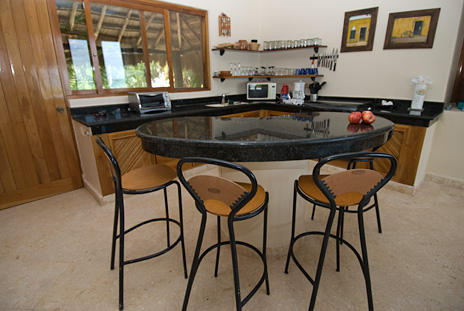 Villa Mariposa vacation rental villa kitchen has a lunch counter and center island