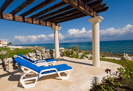 An ocean front pato area at Twin Palms vacation rental villa in Akumal