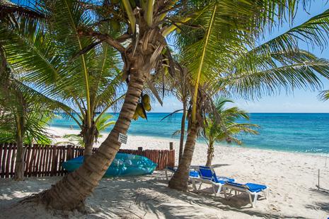 Beach lounge chairs at U Nah Kin 2 BR Aventuras Akumal vacation rental condos