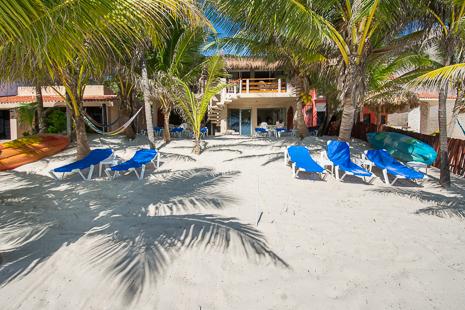 View from the beach at  U Nah Kin 2 BR Aventuras Akumal vacation rental condos