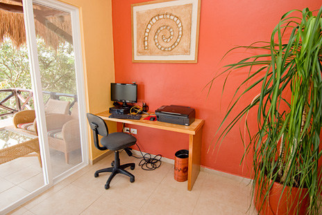 Computer work station at Vallhalla  luxury vacation rental villa in Akumal