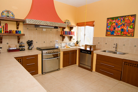 Kitchen at Vallhalla  luxury vacation rental villa in Akumal