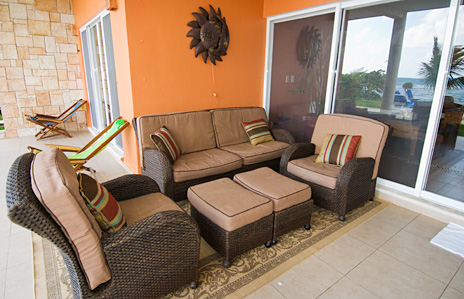 Outside living area at Villa de Vallhalla  luxury vacation rental villa in Akumal