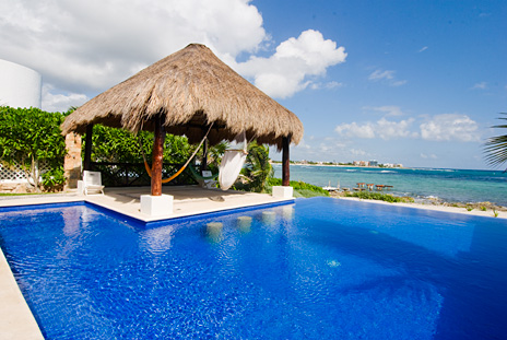 Palapa is an island at Villa de Vallhalla 6 bedroom luxury vacation rental property in Akumal