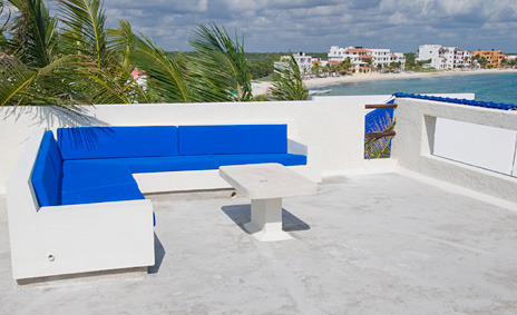 Rooftop observation area at  Villa de Vallhalla  luxury vacation rental villa in Akumal
