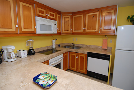 Kitchen is fully equipped in Villa del Mar 105C vacation condo