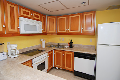 Kitchen in 205C rental condo at Villa del Mar is fully equipped