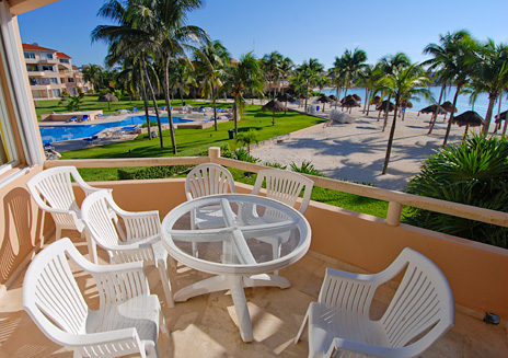 Second level oceanfront patio at the condo in Villa del Mar on the Riviera Maya