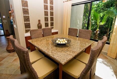 Dining room at La Via 5 BR Akumal vacation rental villa