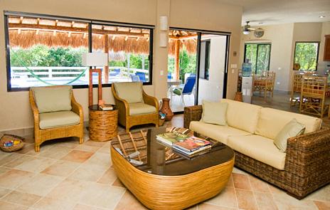 Another view of the living room at La Via 5 BR Akumal vacation rental villa