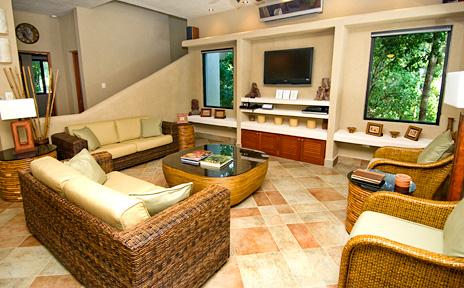 Living area at La Via 5 BR Akumal vacation rental villa