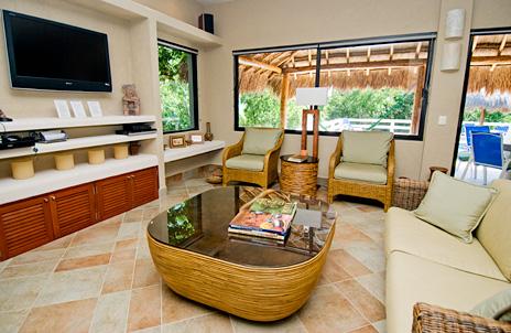 Large flatscreen TV at La Via 5 BR Akumal vacation rental home