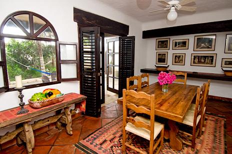 Dining room at  Las Vigas 2 BR Akumal vacation rental villa