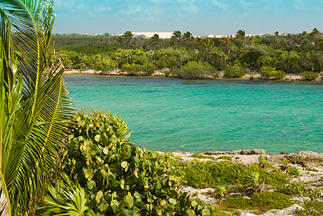 Yalku lagoon is out your door at  Las Vigas 2 BR Akumal vacation rental villa