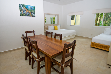 Kitchen in the garden casita at Villa Iguana Soliman Bay vacation rental home