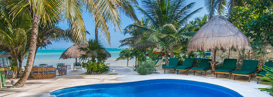 On the beach at  Villa Iguana Soliman Bay vacation rental home